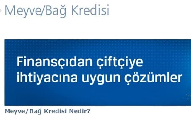 Finansbank meyve/bağ kredisi