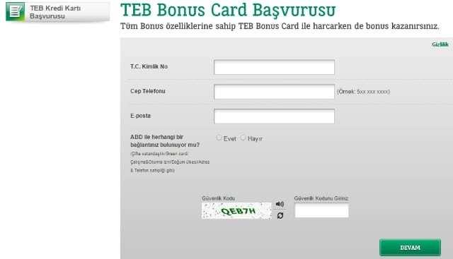 Teb bonus kredi kartı başvurusu nasıl yapılır